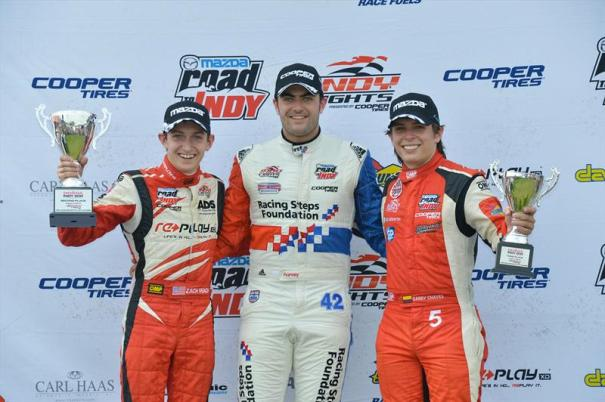 Your three Indy Lights presented by Cooper Tire championship combatants: Zach Veach, Jack Harvey and Gabby Chaves. ((Photo Courtesy of Andersen Promotions)