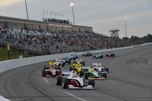Pro Mazda presented by Cooper Tire drivers dive into T1 at Lucas Oil Raceway (Photo Courtesy of Andersen Promotions)