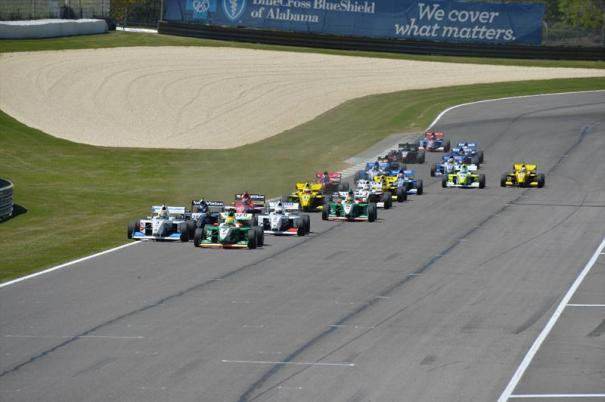 At Barber Motorsports Park, Spencer Pigot leads the first lap (one of 166 he led in 2014) from pole (one of five he scored in 2014) on the way to one of his six victories. (Photo Courtesy of Andersen Promotions)