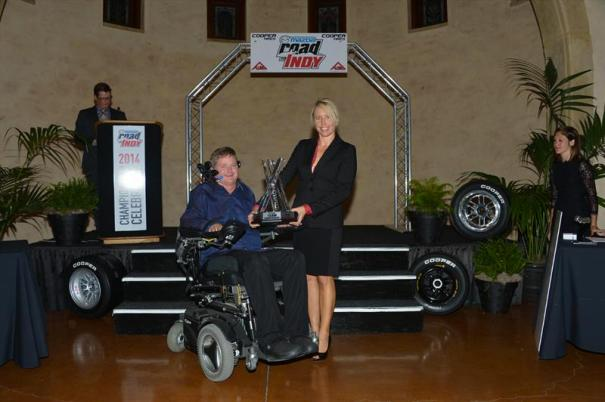 Sam Schmidt collects another Indy Lights presented by Cooper Tire championship trophy (Photo Courtesy of Andersen Promotions)
