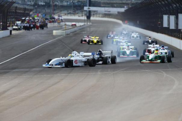 Scott Hargrove leads the field into Turn 1 at the Indianapolis Motor Speedway on the way to one his Pro Mazda presented by Cooper Tire leading 10 podiums.  (Photo Courtesy of Andersen Promotions)